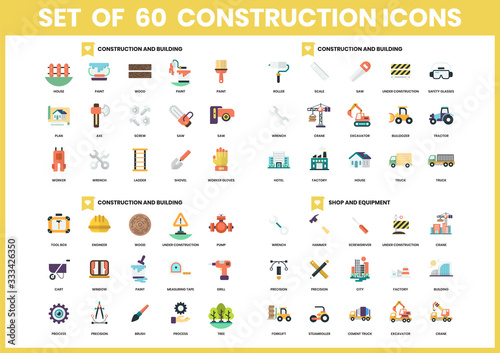 Building icons set for business Canvas Print
