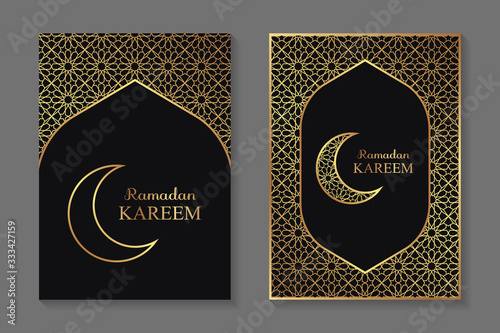 Set of two greeting cards for ramadan with golden arabic traditional ornament on a black background Canvas