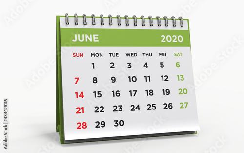 Obraz Desk calendar JUNE 2020 - fototapety do salonu