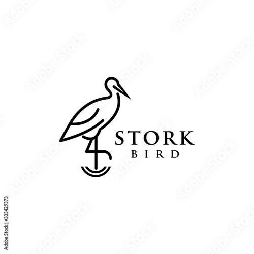 Fototapeta stork bird logo design vector