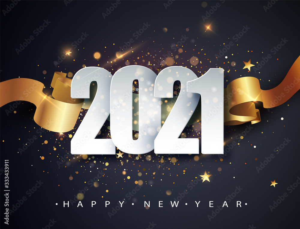 Fototapeta Happy new 2021 year. Winter holiday greeting card design template. New Year holiday posters. Happy New Year dark festive background
