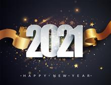 Happy New 2021 Year. Winter Holiday Greeting Card Design Template. New Year Holiday Posters. Happy New Year Dark Festive Background