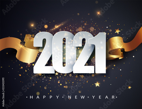 Fototapeta Happy new 2021 year. Winter holiday greeting card design template. New Year holiday posters. Happy New Year dark festive background obraz
