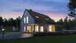 canvas print picture - Beleuchtetes Einfamilienhaus mit Garten abends