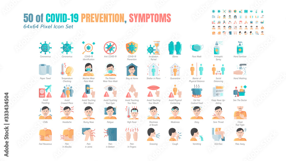 Fototapeta Simple Set of Covid-19 Prevention Flat Icons. such Icons as Protective Measures, Coronavirus, Hygienic Healthcare, Social Distancing, Hands Washing, Symptoms, Quarantine, Stay at Home. 64x64 Pixel.