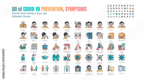 Valokuvatapetti Simple Set of Covid-19 Prevention Filled Outline Icons