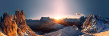 Panorama With Amazing Sunrise ...