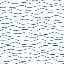 Vector Abstract Hand Drawn Navy Blue Doodle Ocean Waves. Seamless Geometric Pattern On White Background. Abstract Linear Backdrop. Great For Marine, Nautical Themed Products, Seaside Vacation Concept.