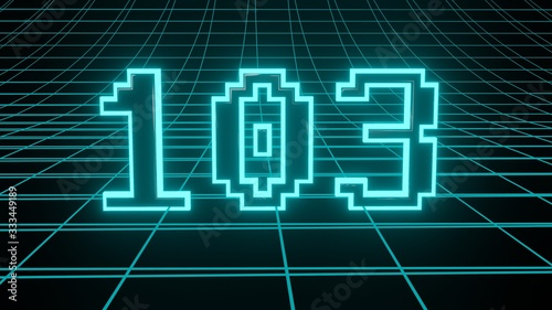 Photo Number 103 in neon glow cyan on grid background, isolated number 3d render