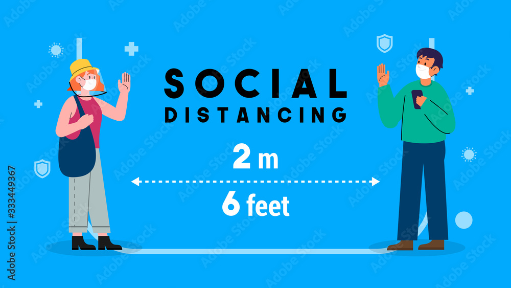 Fototapeta Social distancing concept vector illustration. men and female keep stand 2 meters apart in public to protect from COVID-19