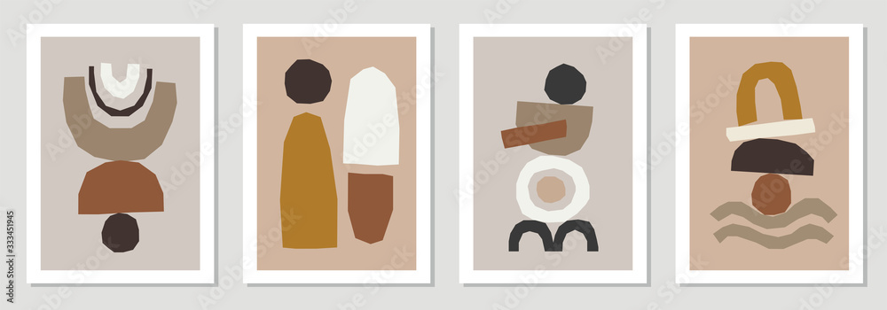 Fototapeta Set of minimal posters with abstract organic shapes composition in trendy contemporary collage style