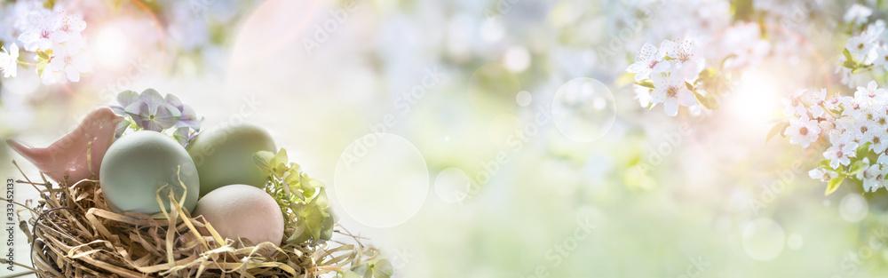 Fototapeta Easter eggs on sunny spring background