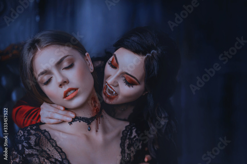 Close Up artwork portrait face sexy vampire woman bites eating drinks young princess Canvas