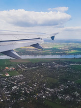 Houses Under The Wing During The Flight