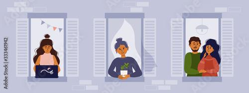 Stay home vector illustration Fototapet