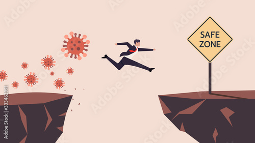 Fotomural Business Man SMEs Runaway Covid-19, Coronavirus Crisis Jumping  Through The Gap Obstacles of Cliff Edge to Safe zone