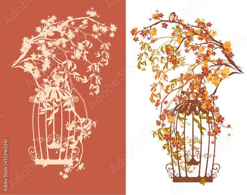 Photo lush autumn branches and open bird cage - fall season park scene vector decor