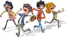 Cartoon Kids Running With Fear...