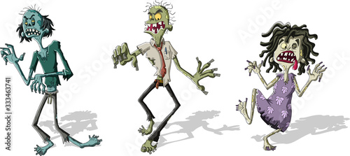Photo Cartoon zombie crowd walking. Scary undead monsters.