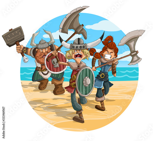 Photo Angry cartoon vikings warriors in the attack