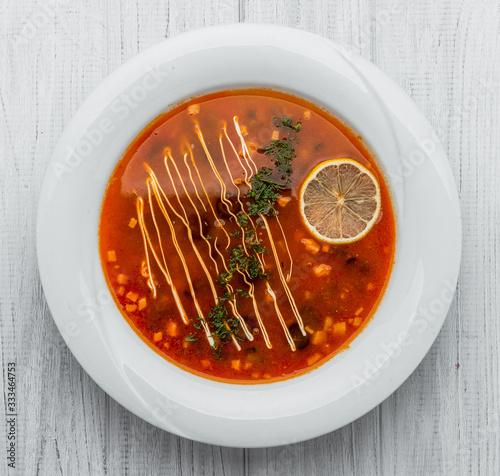 Russian and Ukrainian soup solyanka. Saltwort or barilla. Wallpaper Mural