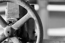 Metal Wheel Used At A Water Pump