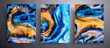 Abstract Vector Placard, Texture Set Of Fluid Art Covers. Beautiful Background That Can Be Used For Design Cover, Invitation, Flyer And Etc. Orange, Blue, Black And White Creative Iridescent Artwork
