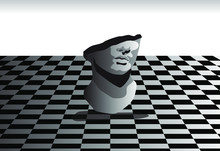 Surrealistic Landscape With Marble Bust On Chessboard Floor. Vaporwave Retro Style Illustration.