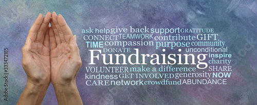 Slika na platnu We need your help with our Fundraising Campaign Word Cloud - Female cupped hands