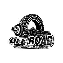 Offroad Car Axle With Tire Logo Tubular Extreme 4x4 Vehicle Rock Bouncher.
