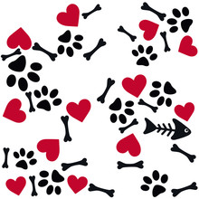 Animal, Paw, Heart, Skeleton Fish, Vector, Art, Illustration