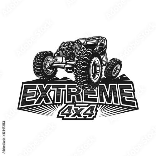 Cuadros en Lienzo Offroad car logo tubular extreme 4x4 vehicle rock bouncher.