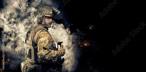 Fotografiet Portrait of a special forces soldier