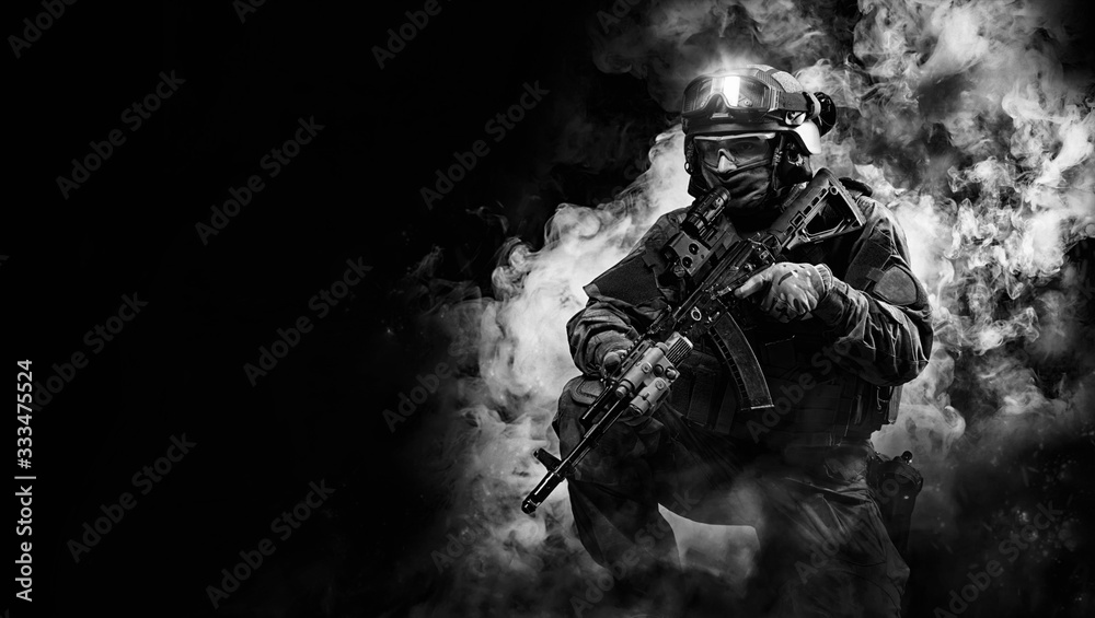Fototapeta Portrait of a special forces soldier. The concept of military units. Computer games.