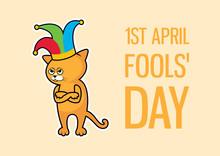 April Fools' Day Cat Vector. A...