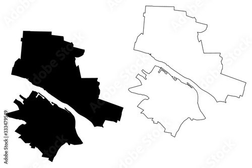 Fényképezés Plock City (Republic of Poland, Masovian Voivodeship) map vector illustration, s