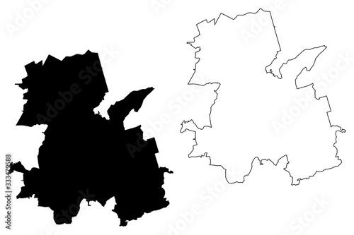 Fotografia, Obraz Rybnik City (Republic of Poland, Silesian Voivodeship) map vector illustration,