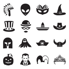 Costume Party Icons. Black Fla...