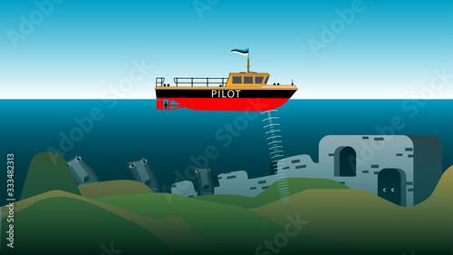 Fotografia, Obraz Visual vector illustration demonstrates the concept of sonar - a device for dete