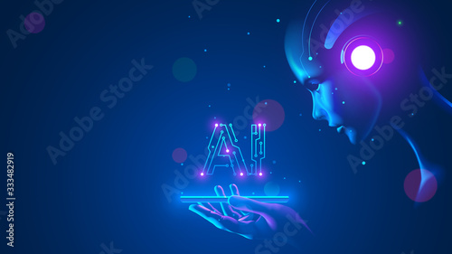Cyborg woman look at logo AI hanging over phone Canvas Print