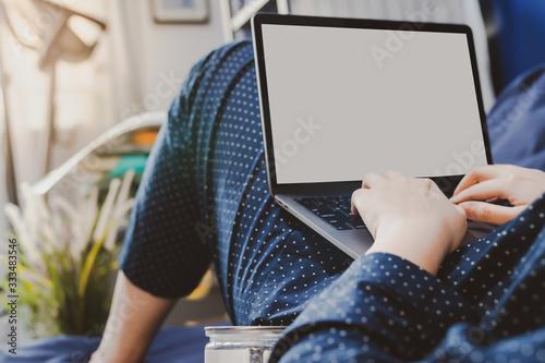 Obraz asian woman in classic blue pajama cloth wor us - fototapety do salonu