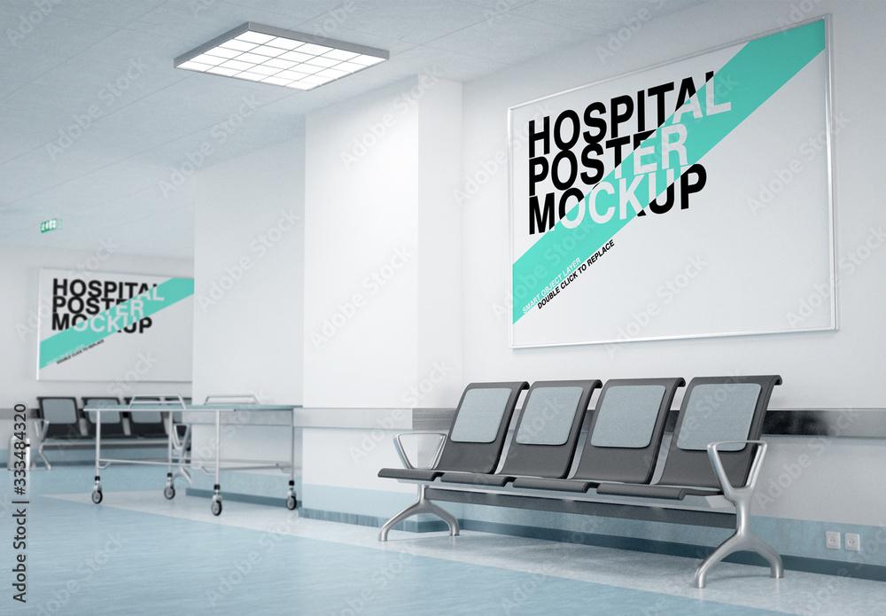 Fototapeta Two Posters in a Hospital Waiting Room Mockup