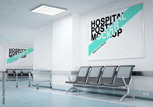 Obraz Two Posters in a Hospital Waiting Room Mockup - fototapety do salonu