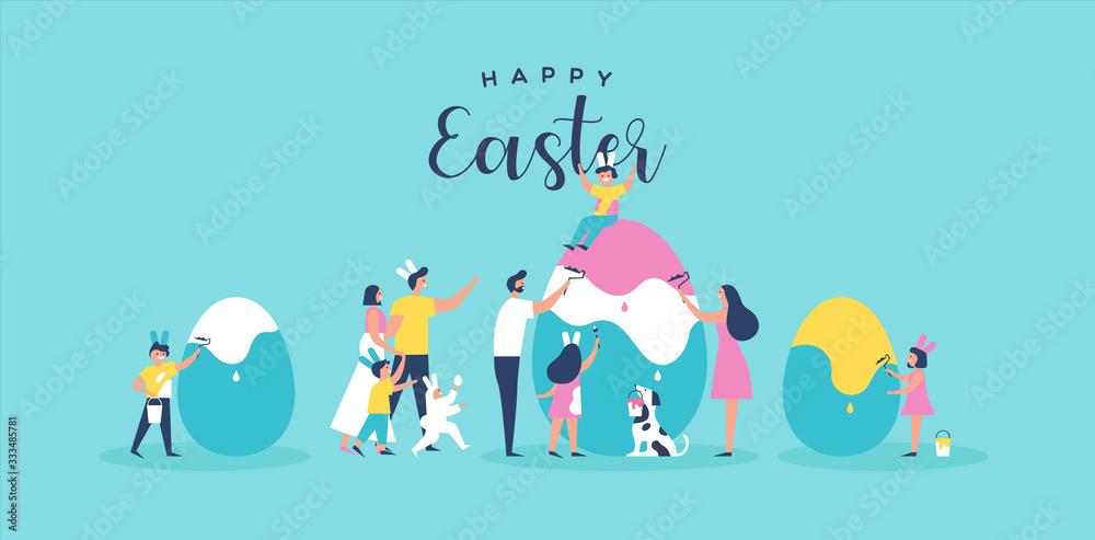 Fototapeta Happy easter family people painting egg card