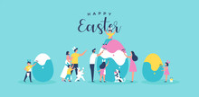 Happy Easter Family People Painting Egg Card