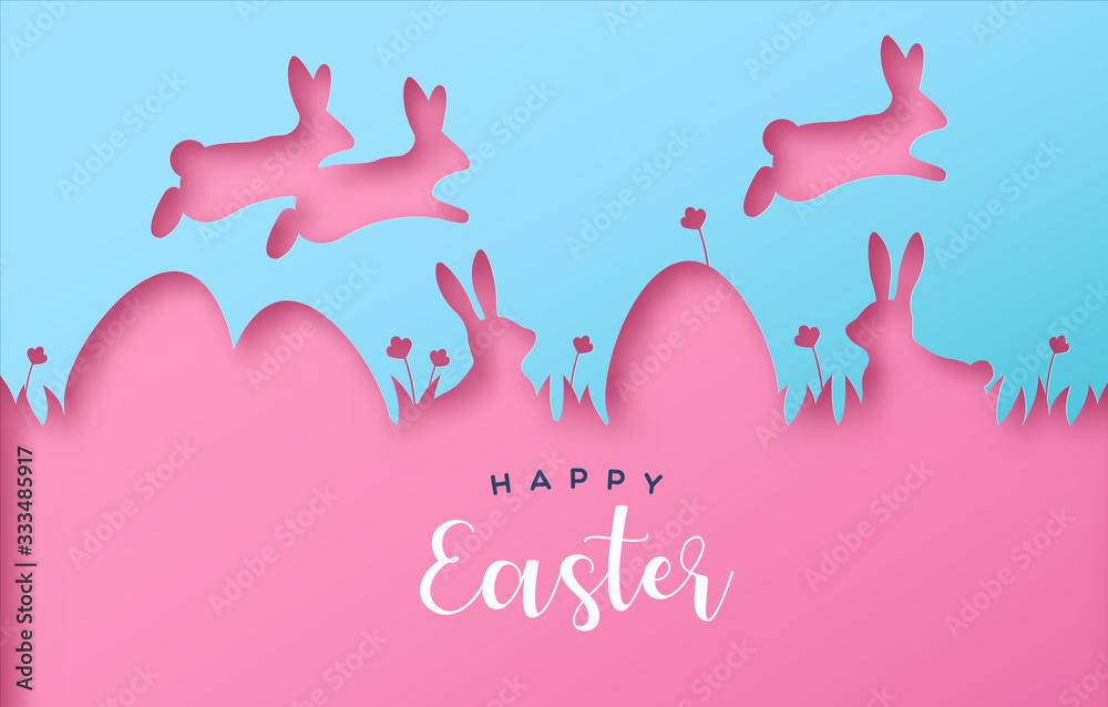 Fototapeta Happy easter colorful paper cut rabbit egg card