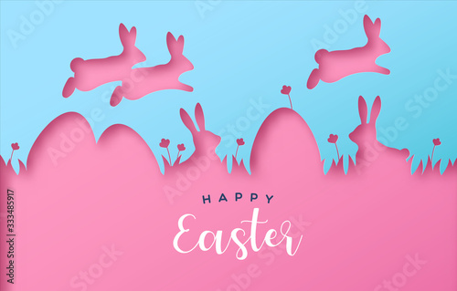 Happy easter colorful paper cut rabbit egg card - 333485917