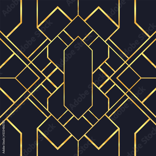 Tapeta czarna  vintage-gold-black-art-deco-seamless-pattern