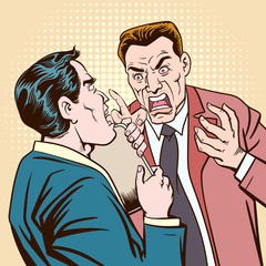 He was almost shocked. When another businessman shouted at him.Pop art retro vector illustration kitsch vintage