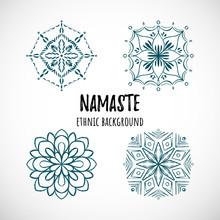 Set Of Blue Mandala Icon With ...